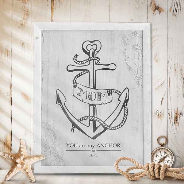 rustic, coastal room with a framed Mom You Are My Anchor print