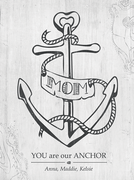 Closer view of the Mom You Are Our Anchor print