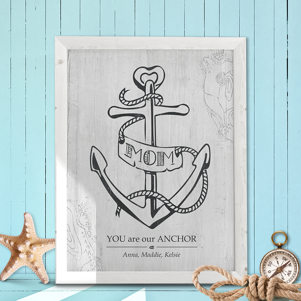 rustic, coastal room with a framed Mom You Are Our Anchor print