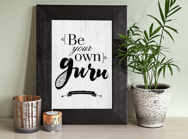 yoga room with a framed Be Your Own Guru personalized print