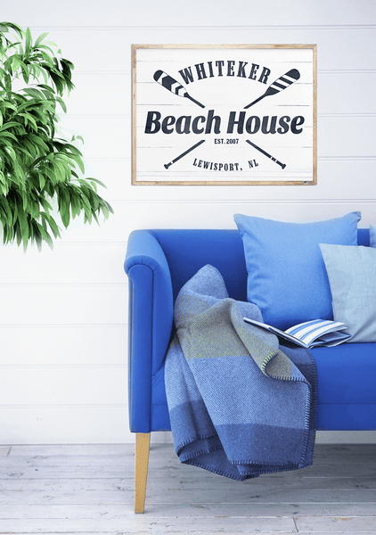 Beautiful nautical room with a framed Beach House personalized print