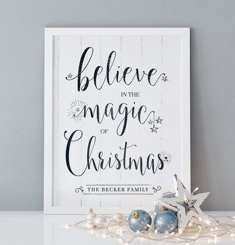 "Believe Personalized Print. Reads ""believe in the magic of Christmas"""