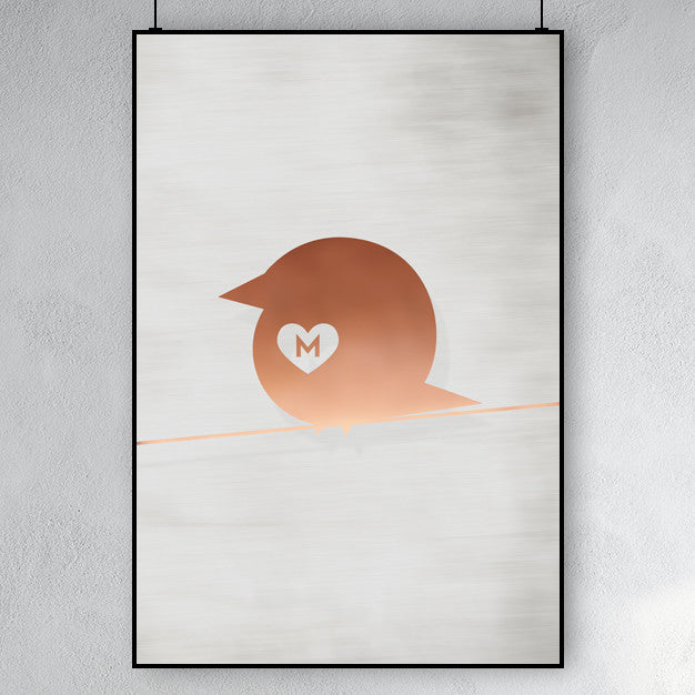 Copper Chirp poster - bird on a line with a heart and customizable letter