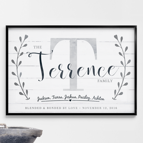 "Blended Family personalized print. Add your family name and initial plus all first names. Below, it states ""blended & bonded by love"" and you can add the wedding date next to this print."