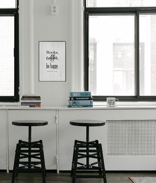 modern, Nordic style room with Books, Coffee Personalized Print framed on the wall