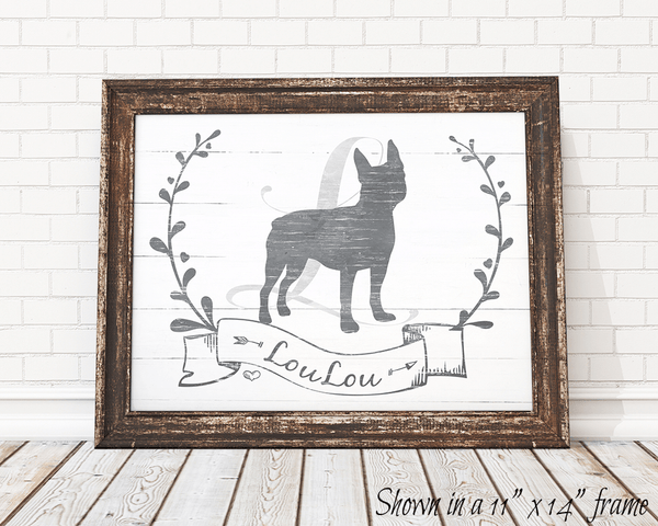 framed Boston Terrier personalized print