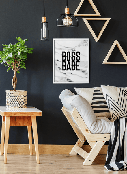 Boss Babe print in a modern room