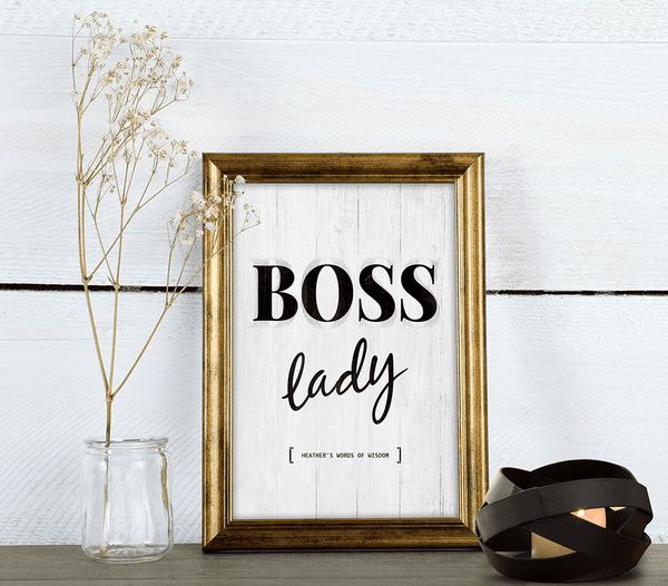Beautiful room with a framed Boss Lady personalized print