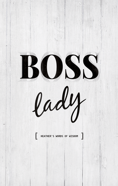 closer view at the Boss Lady personalized print