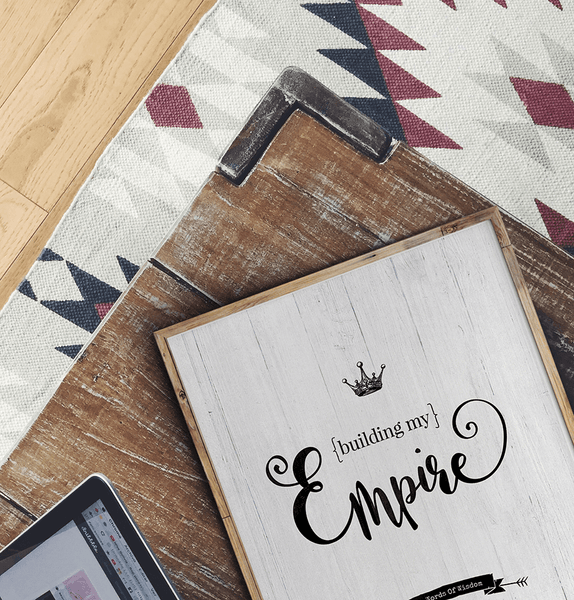 modern room with a framed Empire personalized print
