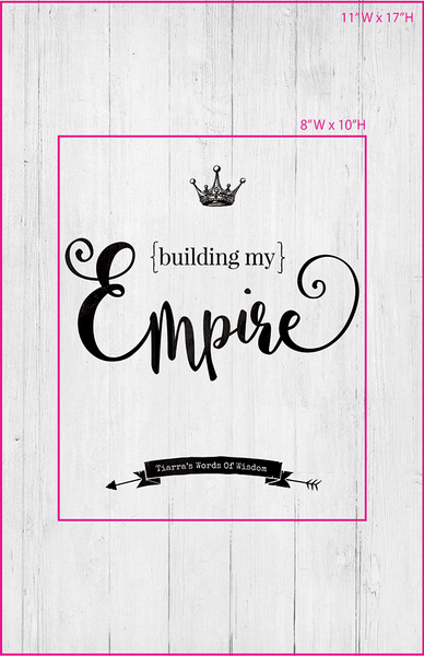 Visual of framed sizes on the personalized Building My Empire print