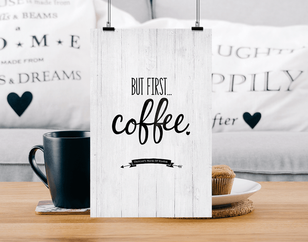 Modern farmhouse home with But First Coffee personalized print