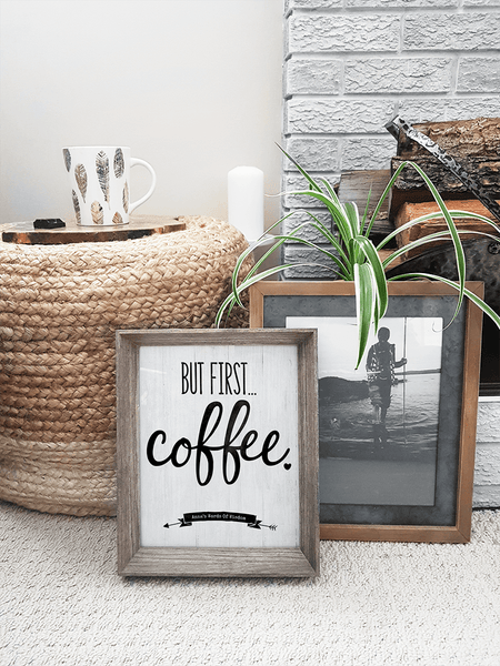 Boho home with But First Coffee personalized print