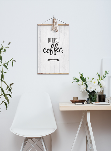 But First... Coffee Personalized Print in a boho inspired modern room