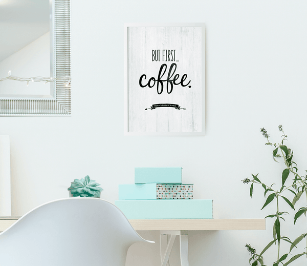 Modern chic office with teal accents and a But First Coffee personalized print framed on the wall