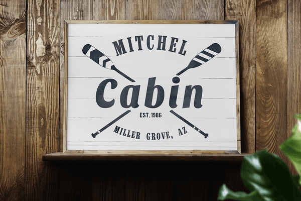 Cabin personalized Print framed on a shelf in a rustic cabin