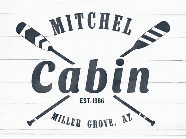 close up look at the Cabin personalized Print