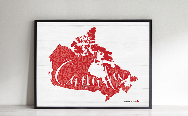 Any Place Canada - a personalized print, special edition for Canada's 150th birthday - framed in a black frame