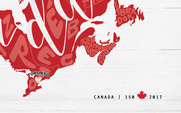 detail of the Any Place Canada personalized print