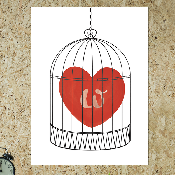 watercolor red heart in a bird cage. have an initial set in the heart.
