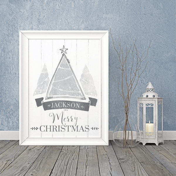 holiday themed room with a framed Christmas Tree print