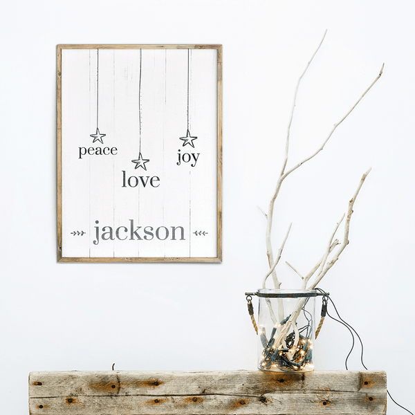 rustic, nordic style art with words: peace, love, joy and personalized with family name