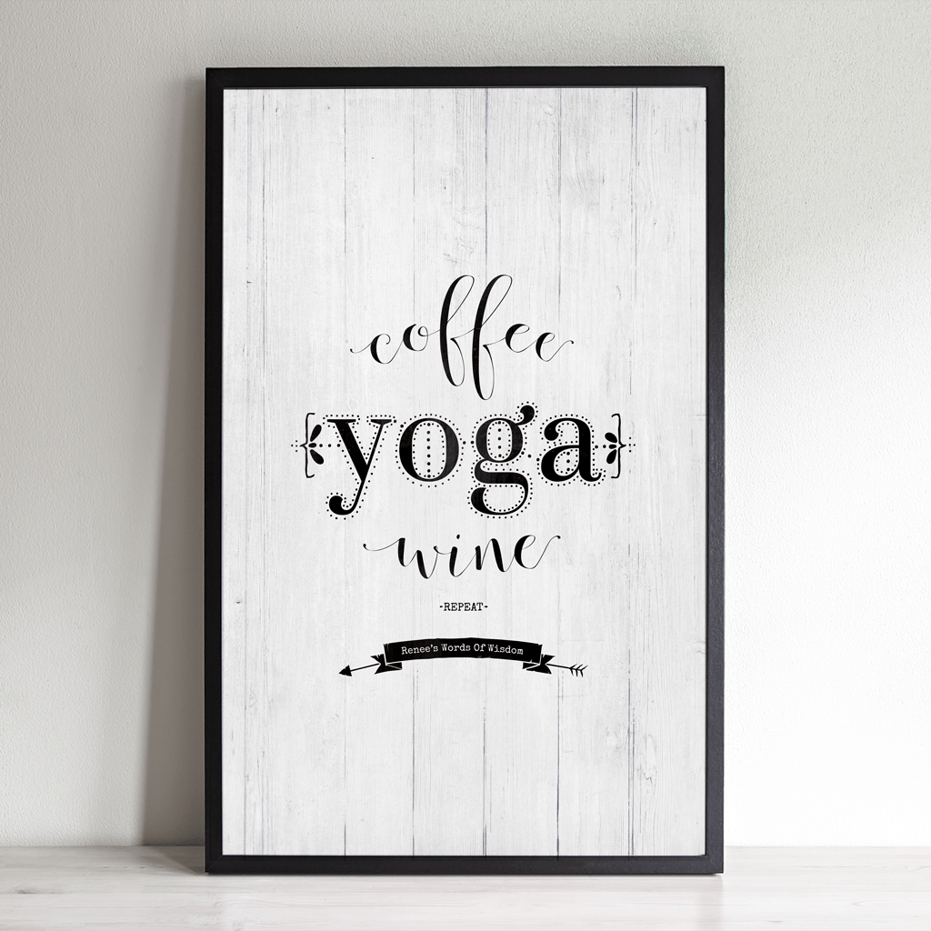 Coffee Yoga Wine Repeat inspirational yoga themed personalized print