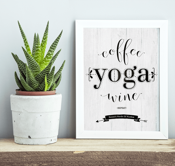 rustic shelf with a framed Coffee Yoga Wine Repeat print