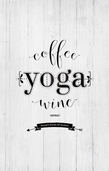 close up view of the Coffee Yoga Wine Repeat personalized print