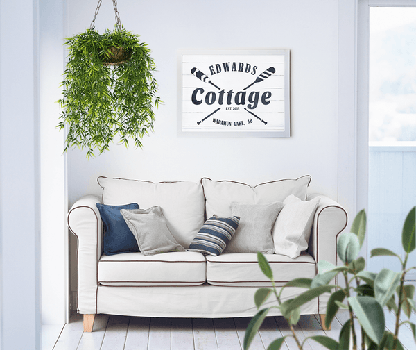 Cottage personalized print on the wall in a beautiful cottage