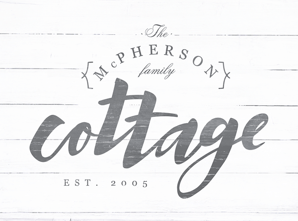Detailed view of the Cottage print in a rustic farmhouse style.