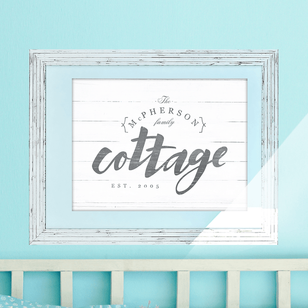 Personalize this rustic farmhouse style print with your last name and EST. date. Perfect gift for anyone with a cottage!
