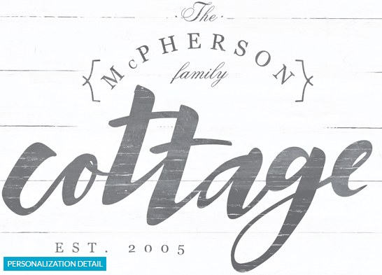 Preview of the personalization on the Cottage print.