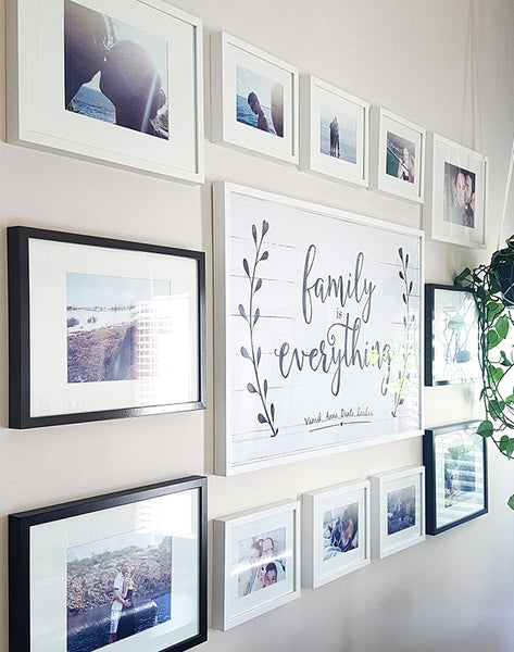 gallery wall idea with Family Is Everything personalized print