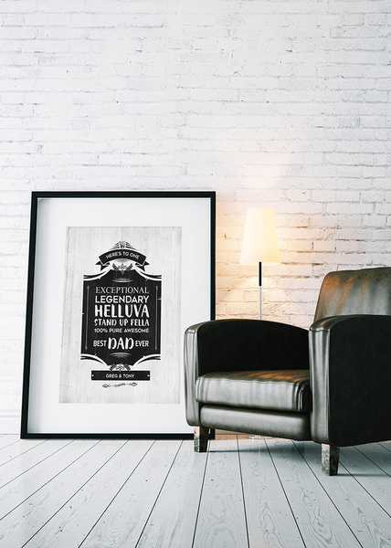 modern room with brick wall and leather armchair with the Cheers personalized poster in a matted frame.