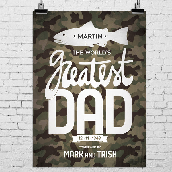 Fishing, hunting theme poster for dad with camouflage style and personalizations