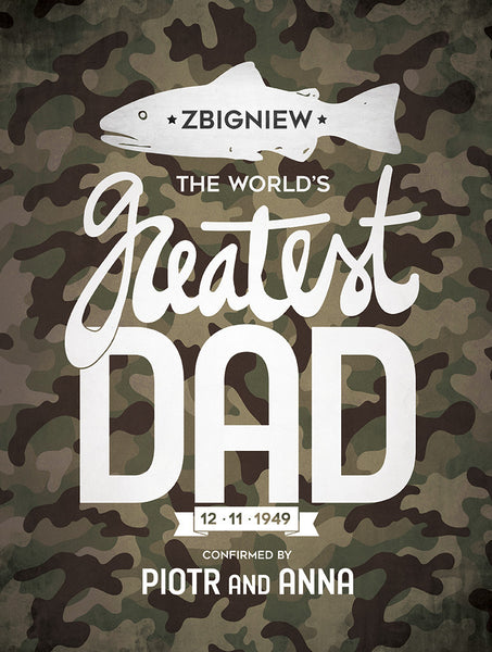 close up of the camouflage themed Greatest Dad poster