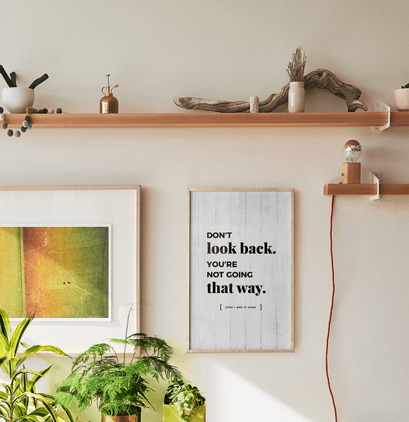 Don't Look Back You're Not Going That Way Personalized Print in a boho inspired room