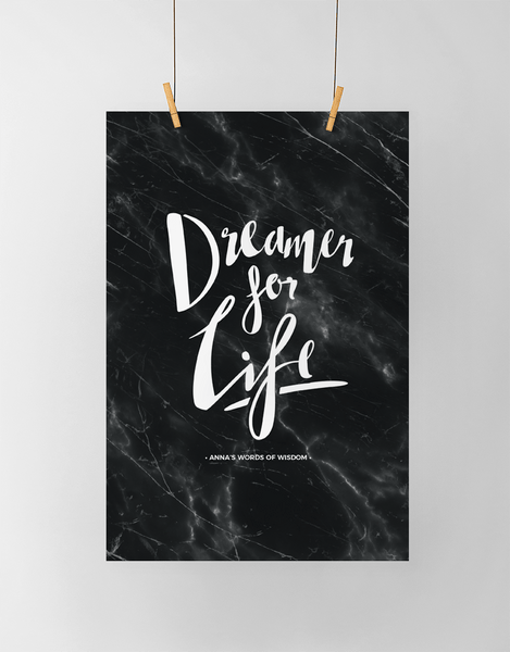Dreamer Personalized Print in black marble