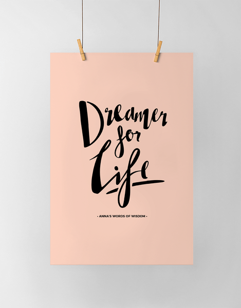 Dreamer Personalized Print in black and blush