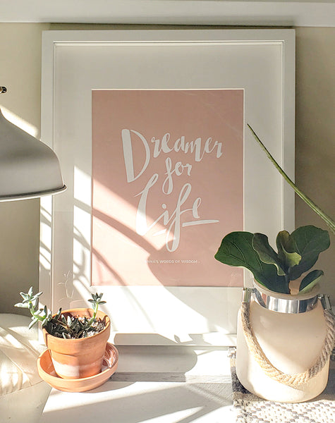 Dreamer for life personalized print in a boho styled home