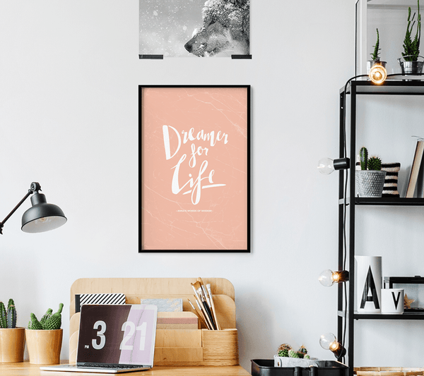 Dreamer Personalized Print framed in a modern workspace