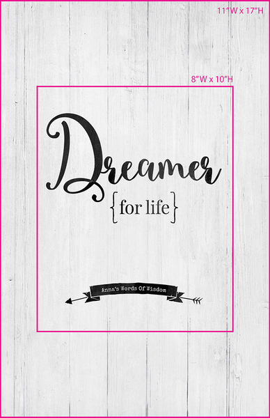 Visual of framed sizes on the personalized Dreamer For Life print