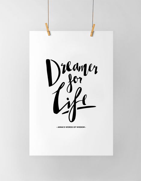 Dreamer Personalized Print in black and white