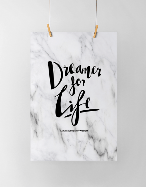 Dreamer Personalized Print in white marble