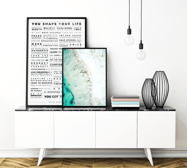 Manifesto Grid Personalized Print in a modern room together with the Ebb Print from Expressions Collection