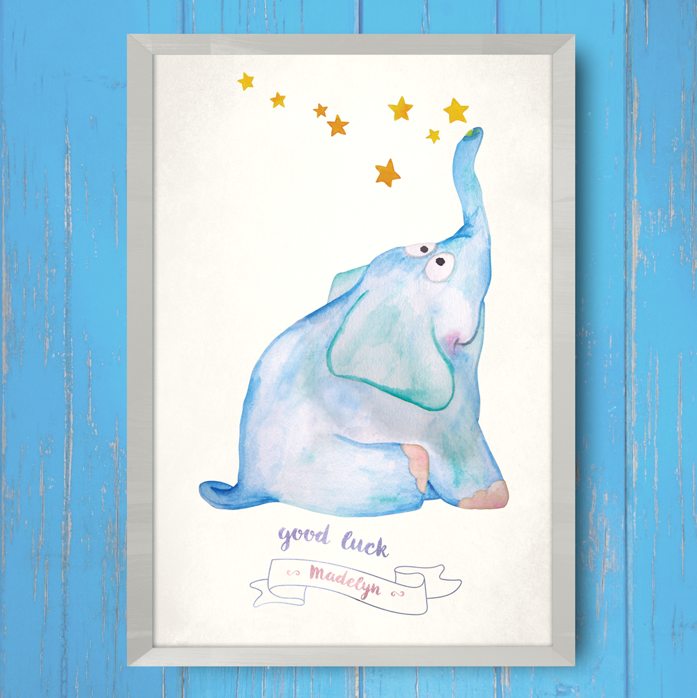 Baby theme printer with an elephant and stars. Customize it with your baby's name!