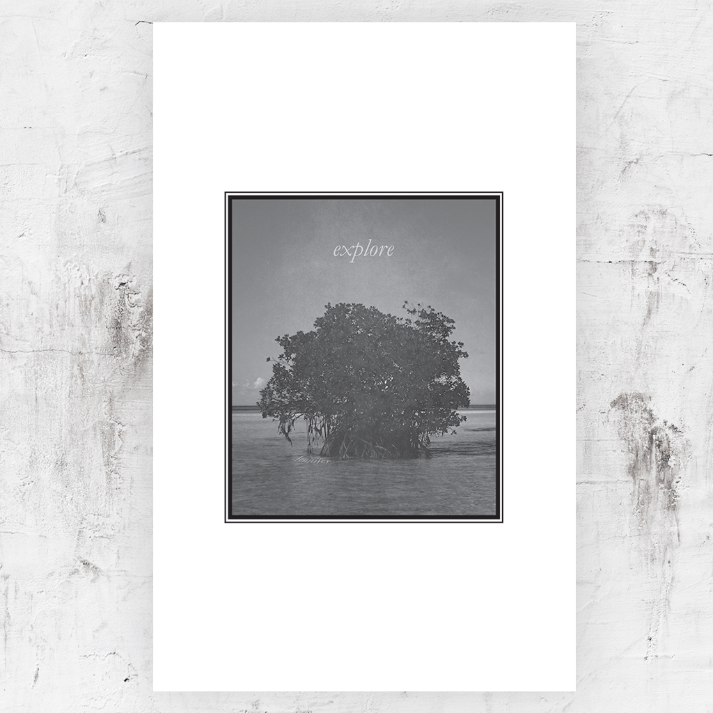 "Black and white print with a tree growing out of the ocean with a word ""explore"" above in the sky. Personalize this print with your name below the tree in the water."