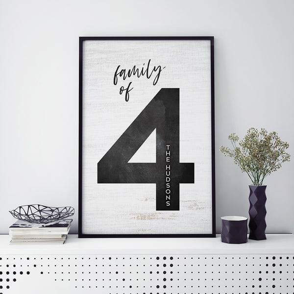 a framed personalized poster for Family of 4