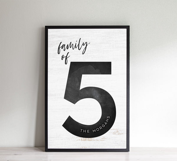 Family of 5 personalized print with a rustic wooden texture